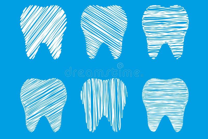 Samling av tänder som stiliseras som handen som drar, tandvård stock illustrationer