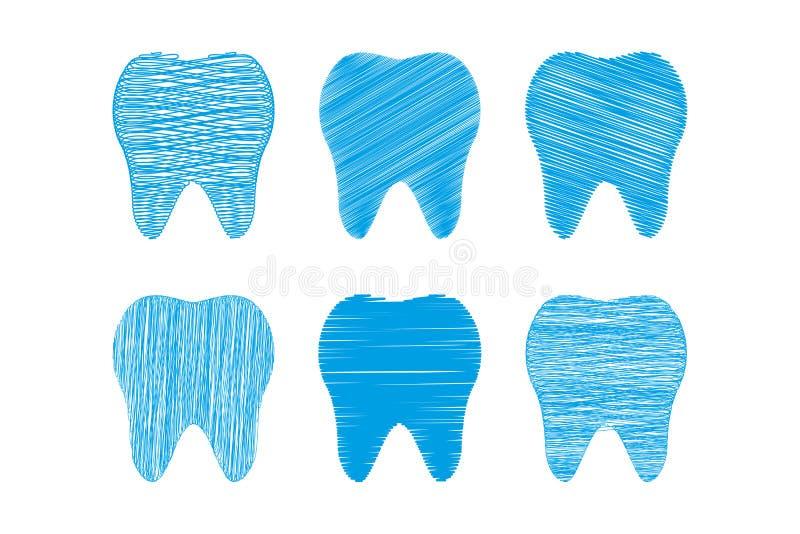 Samling av tänder som stiliseras som handen som drar, tandvård vektor illustrationer