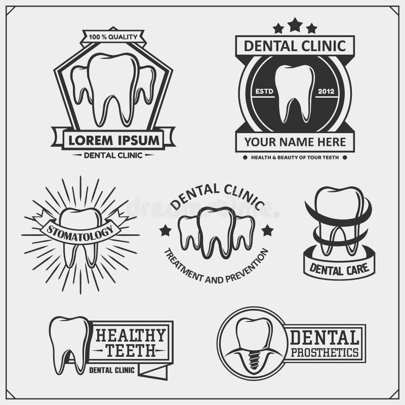 Samling av tand- kliniklogoer och emblem Tand- symboler, tecken och designbeståndsdelar royaltyfri illustrationer