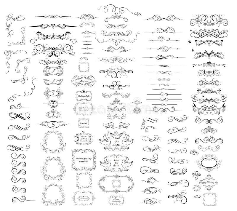 Samling av tappningavdelare, ramar, swashes och krusidullar vektor illustrationer