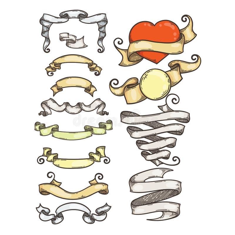 Samling av tappningbandet, hand dragen klotteruppsättning royaltyfri illustrationer