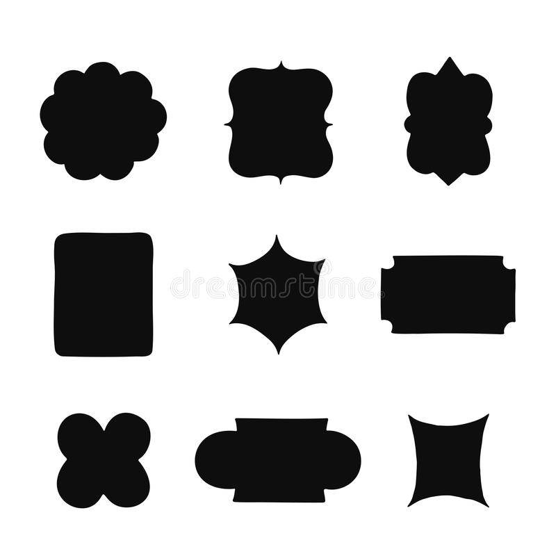 Samling av tappningetikettformer också vektor för coreldrawillustration royaltyfri illustrationer