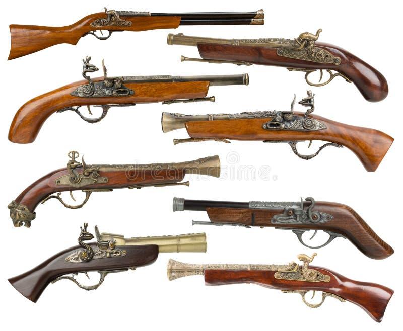 Samling av tappningvapen som isoleras på den vita bakgrunden royaltyfria bilder