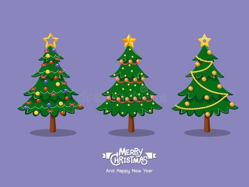 Samling av tecknad filmjulgranar Glad jul och lyckligt stock illustrationer