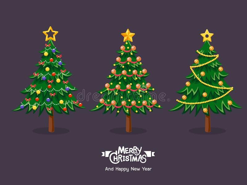 Samling av tecknad filmjulgranar Glad jul och lyckligt royaltyfri illustrationer