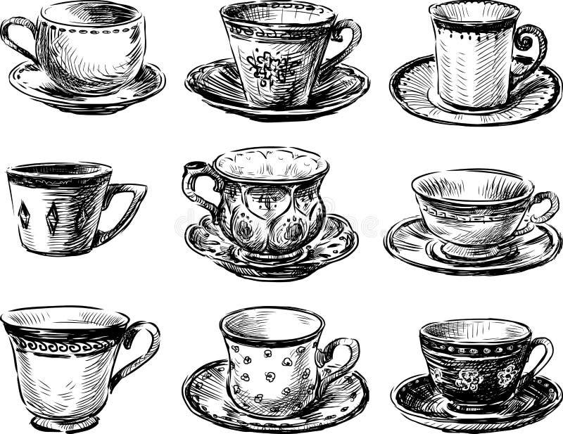 Samling av tekoppar stock illustrationer