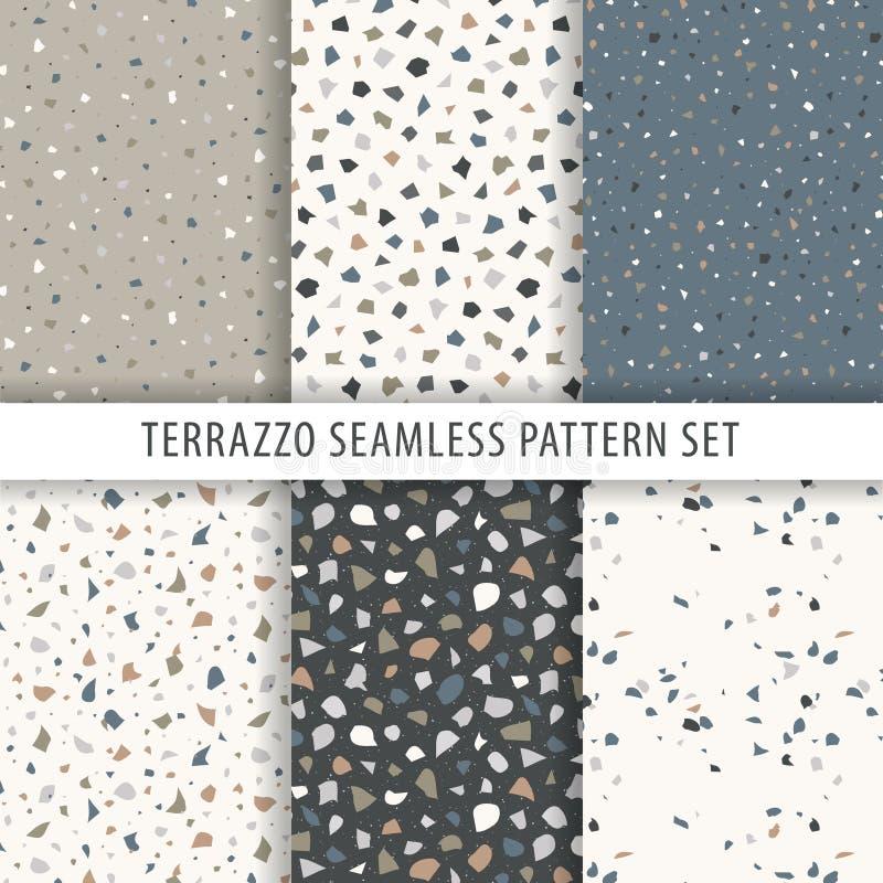 Samling av terrazzobakgrunder seamless modell stock illustrationer