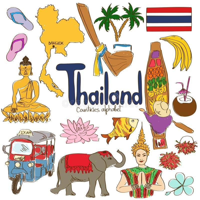 Samling av Thailand symboler vektor illustrationer