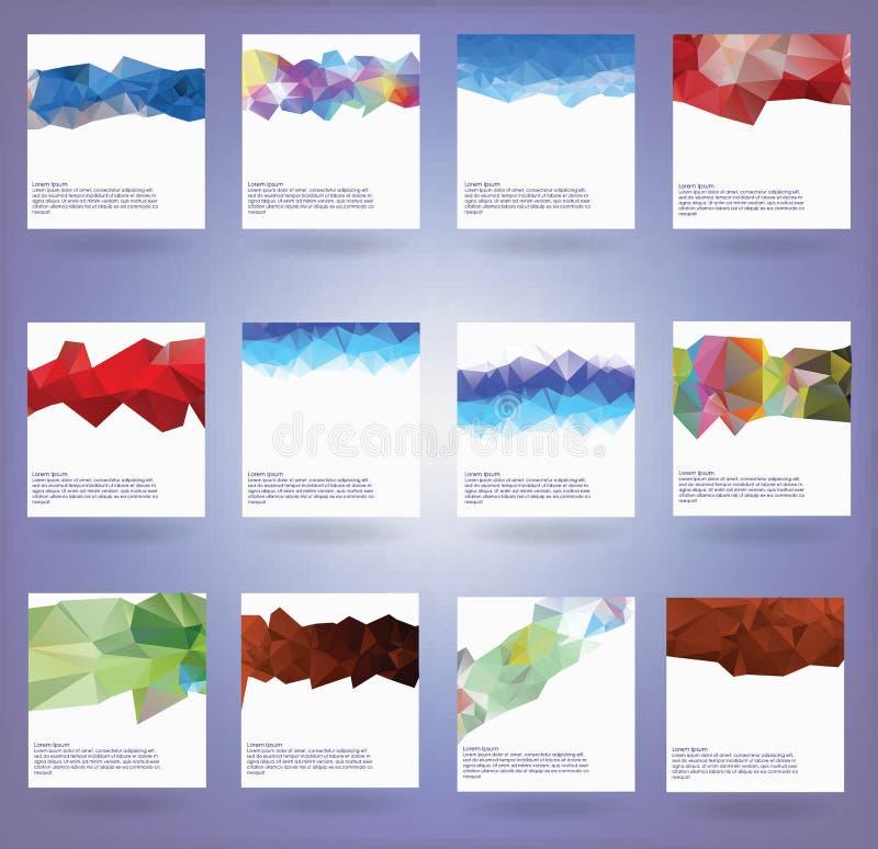 Samling av tolv abstrakta triangelbakgrunder vektor illustrationer