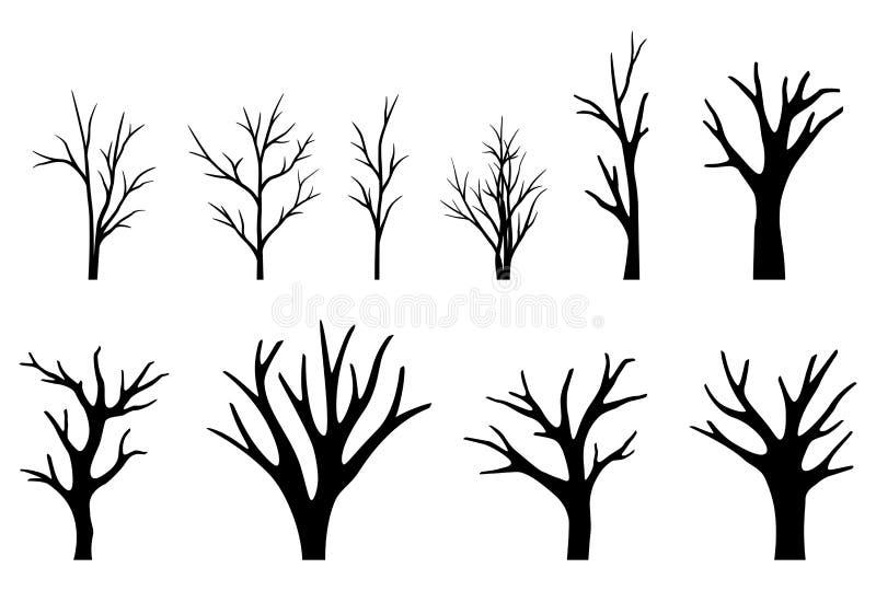 Samling av trädkonturer på vit bakgrund vektor illustrationer