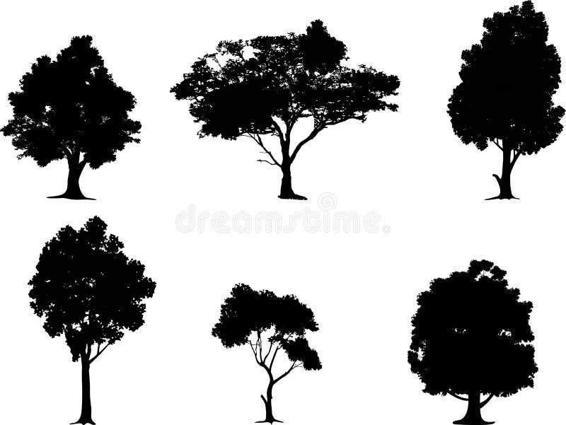 Samling av trädkonturn royaltyfri illustrationer