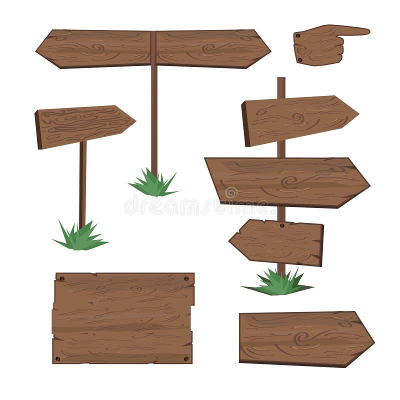 Samling av trävektortecken vektor illustrationer