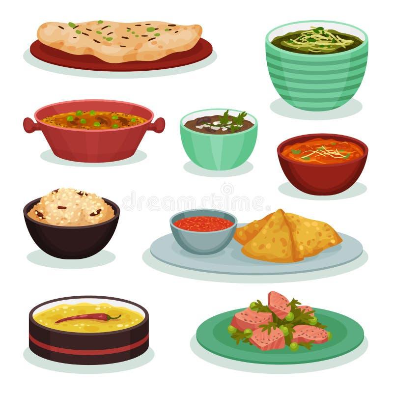 Samling av traditionell indisk mat, chapati, roti, dahimaach, samosa, illustration för palakpaneervektor på ett vitt vektor illustrationer