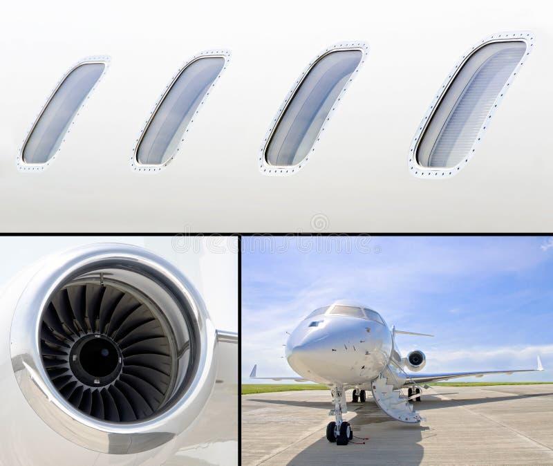 Samling av tre foto av lyxigt flygplan för privat stråle royaltyfri bild