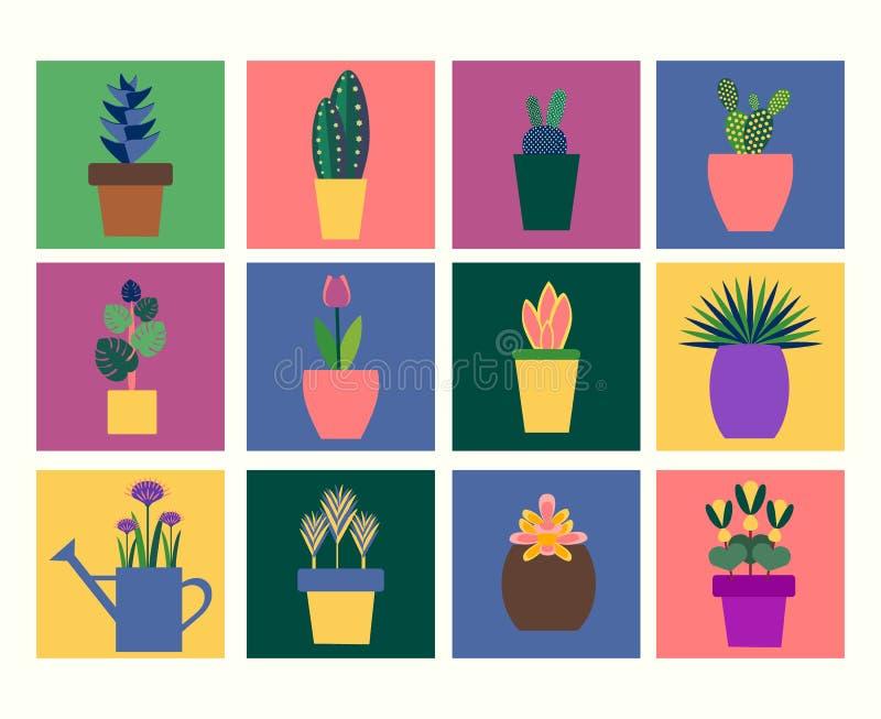 Samling av tropiska växter i krukalägenhetstil vektor illustrationer