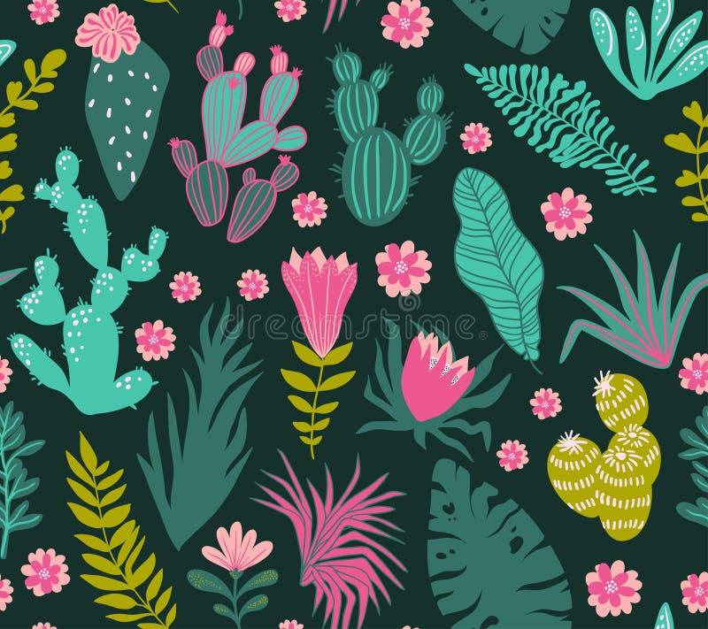 Samling av tropiska växter, kakturs, suckulenter, blommor vektor illustrationer
