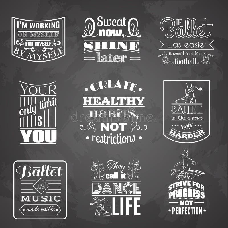 Samling av typografisk bakgrund för citationstecken om dans och balett vektor illustrationer
