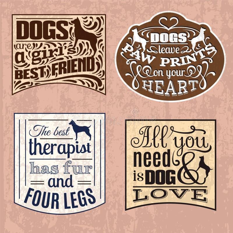 Samling av typografisk bakgrund för moderiktigt citationstecken om hund vektor illustrationer