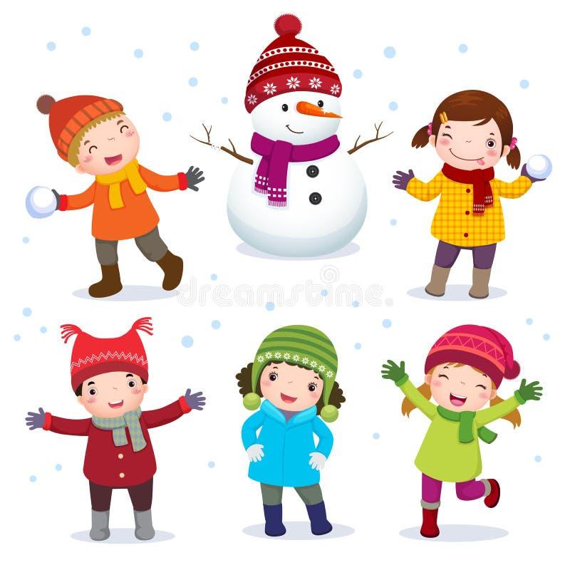 Samling av ungar med snögubben i vinterdräkt stock illustrationer