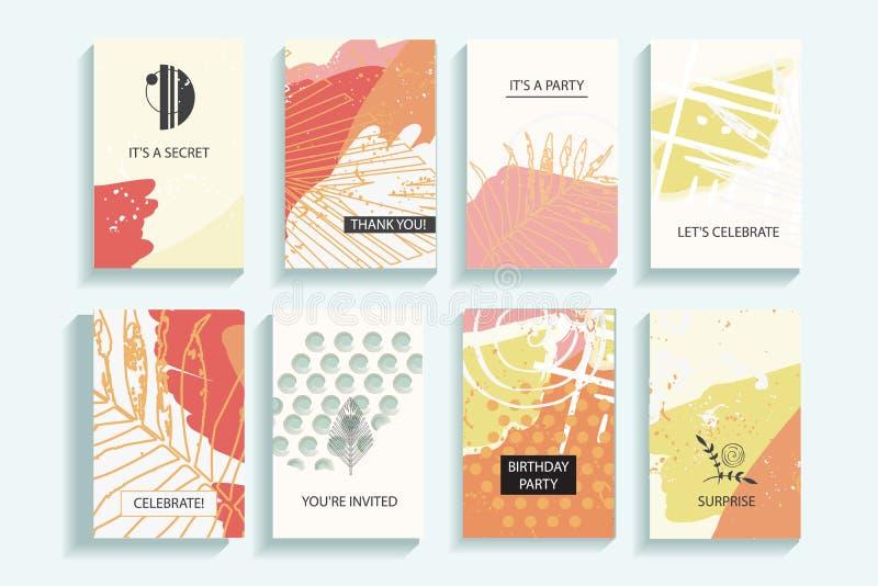 Samling av universella moderiktiga kort för höst stock illustrationer
