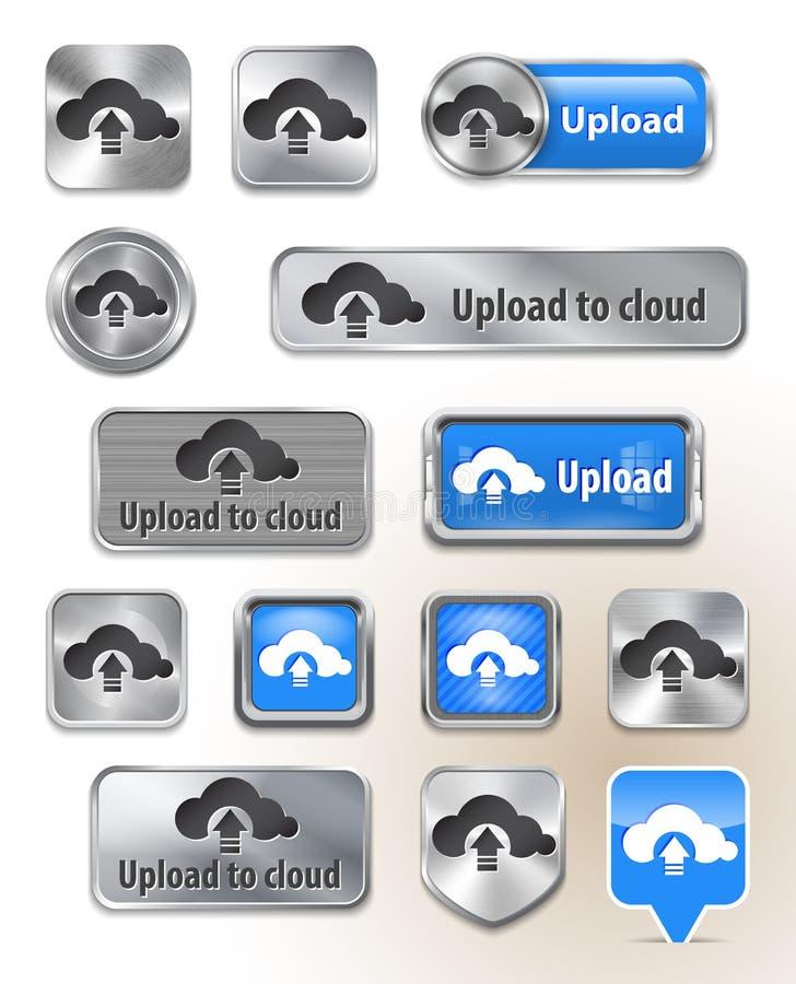 Samling av uploaden som cloud metalliska knappar stock illustrationer