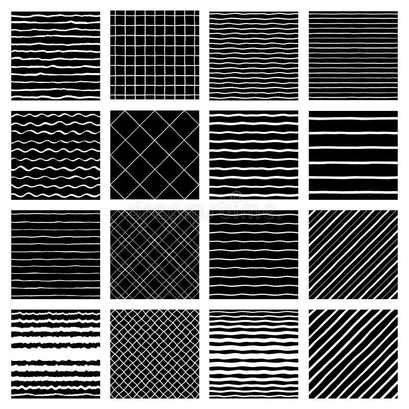 Samling av utdragna geometriska sömlösa modeller för handborste vektor illustrationer