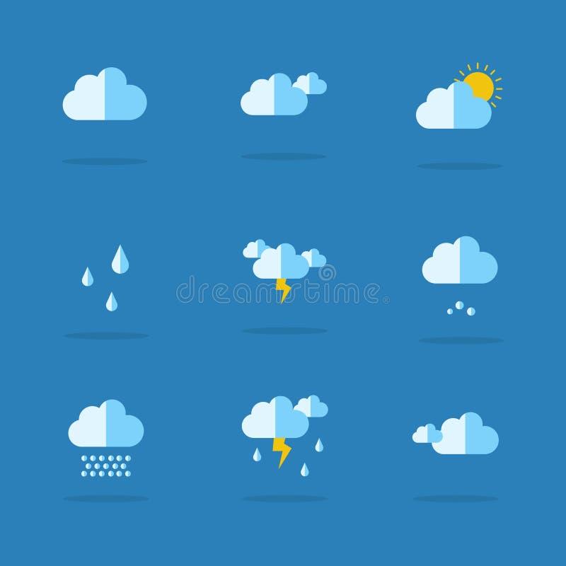 Samling av väderuppsättningsymbolen stock illustrationer