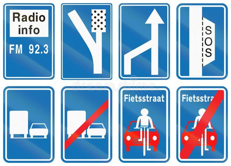 Samling av vägmärken som används i Belgien vektor illustrationer