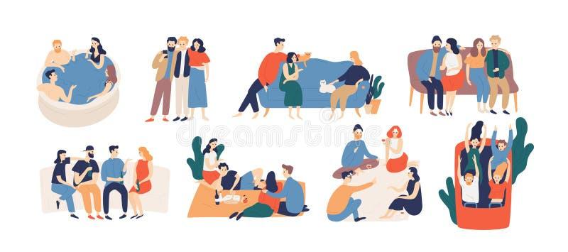 Samling av vänner som tillsammans spenderar tid Packe av unga män och kvinnor som spelar leken och att rida berg-och dalbanan som vektor illustrationer