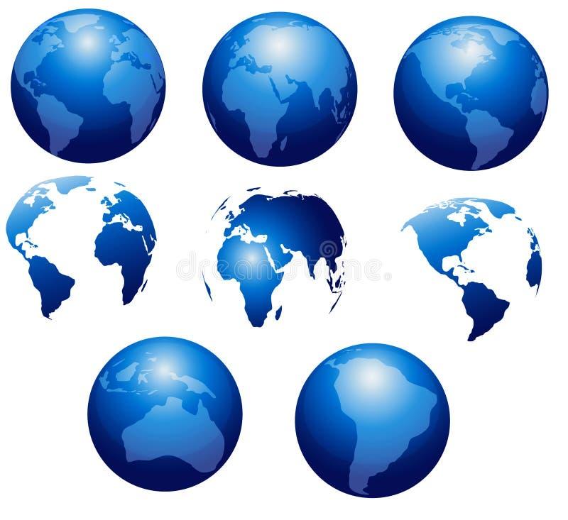 Samling av världsjordklot stock illustrationer