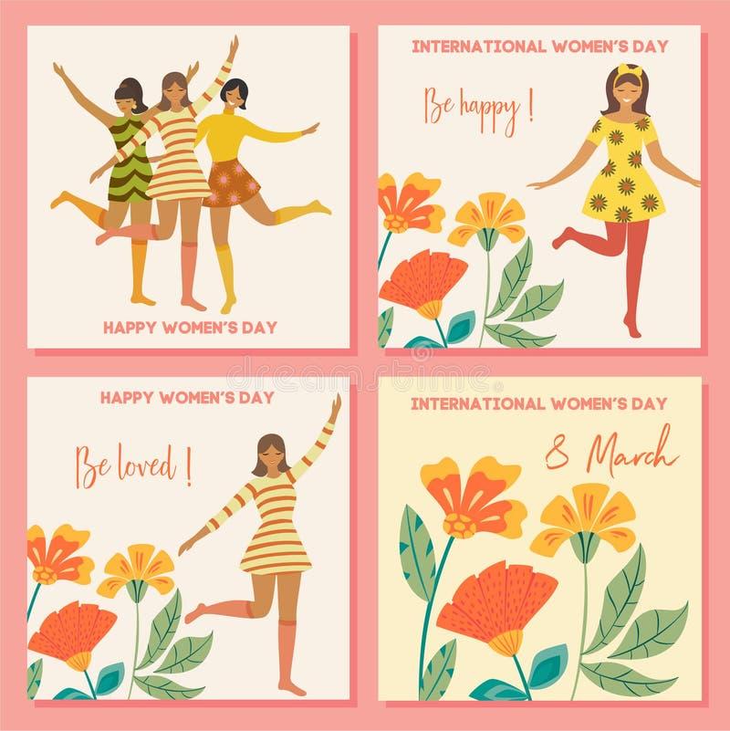 Samling av vårkort Internationell dag för kvinna` s Vektortappningmall med den gulliga dansa flickan och blommor i retro stil stock illustrationer