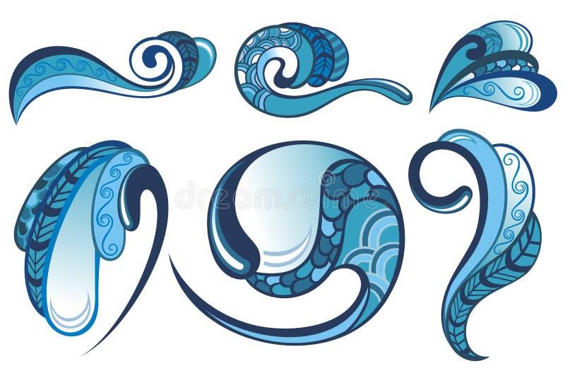 Samling av vatten stock illustrationer