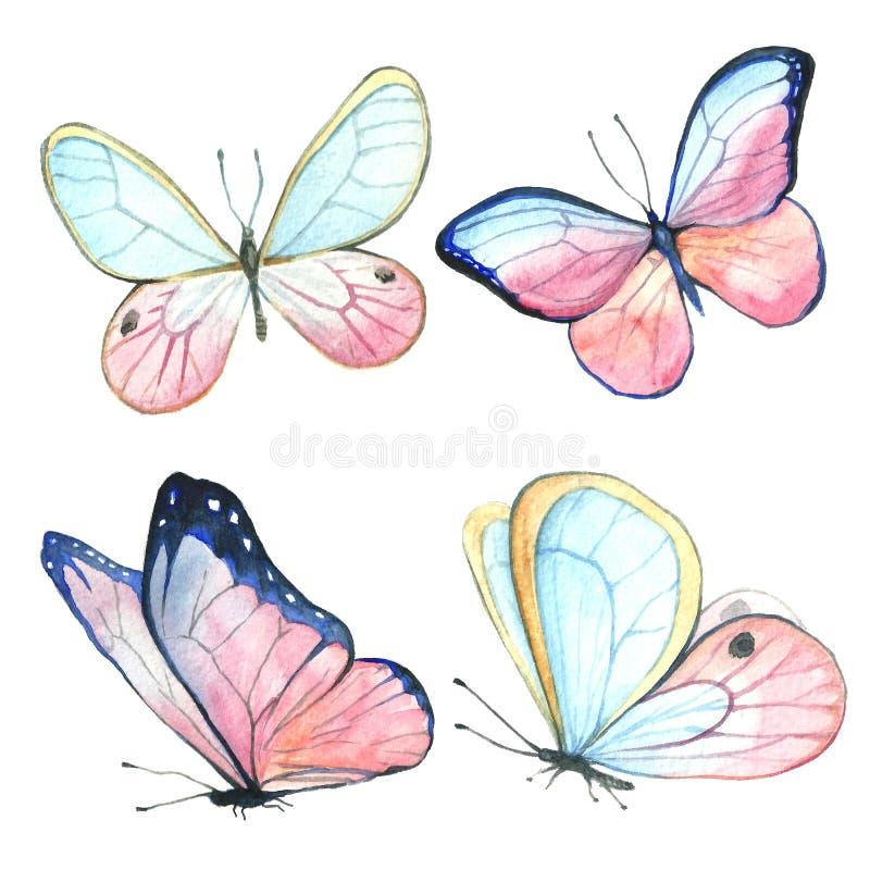 Samling av vattenfärgbilder av härliga fjärilar royaltyfri illustrationer