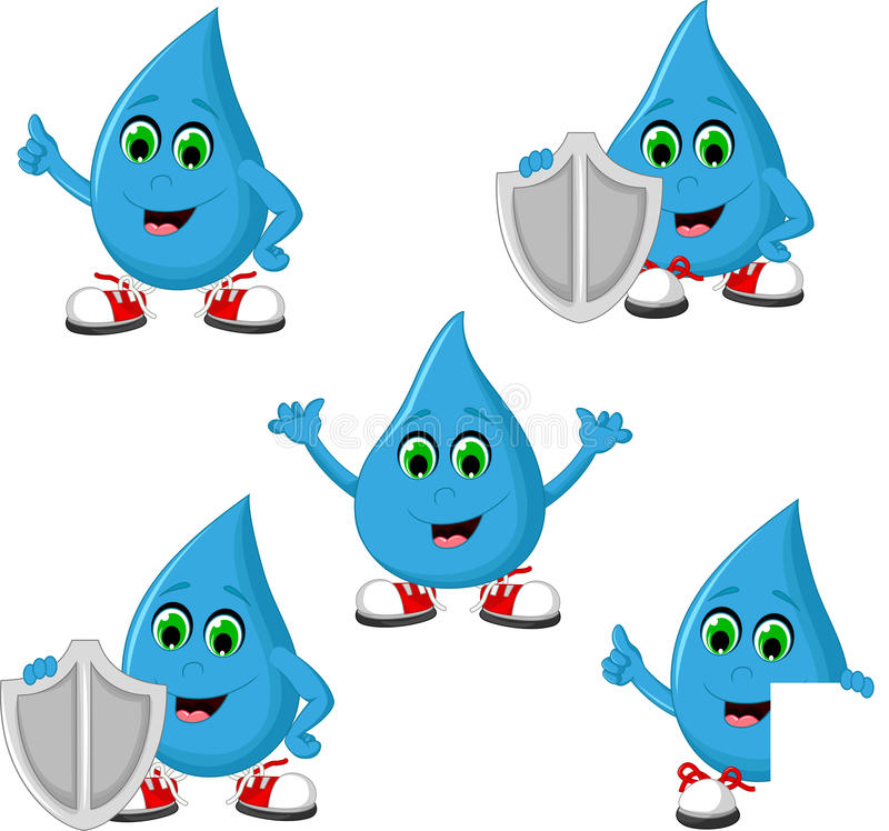 Samling av vattensymbolen royaltyfri illustrationer
