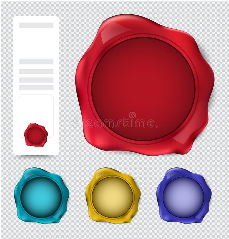 Samling av vaxskyddsremsastämpeln verifiera stämpeluppsättningen stock illustrationer