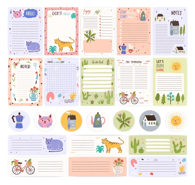 Samling av vecko- eller dagliga stadsplaneraresidor eller klistermärkear, ark för anmärkningar och att göra listamallar som dekor stock illustrationer