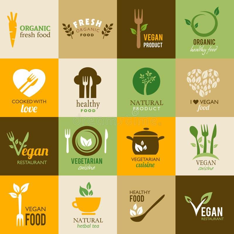 Samling av vegetariska och organiska symboler stock illustrationer