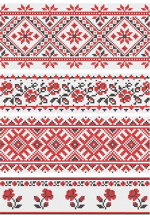 Samling av vegetativa prydnader i den ukrainska stilen stock illustrationer