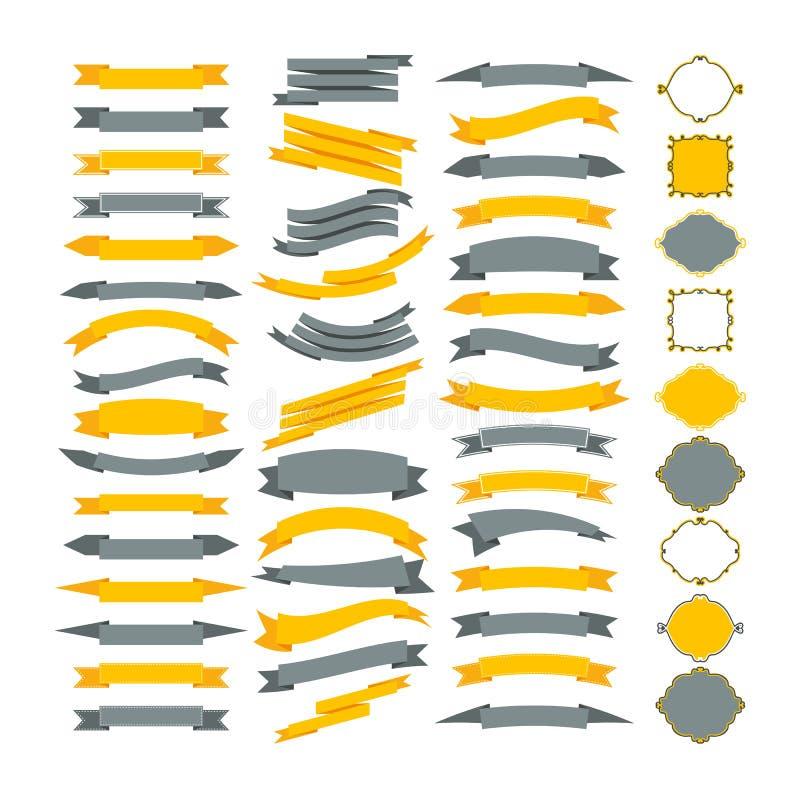 Samling av vektordesignbeståndsdelar Stor uppsättning av ramar och ribb stock illustrationer