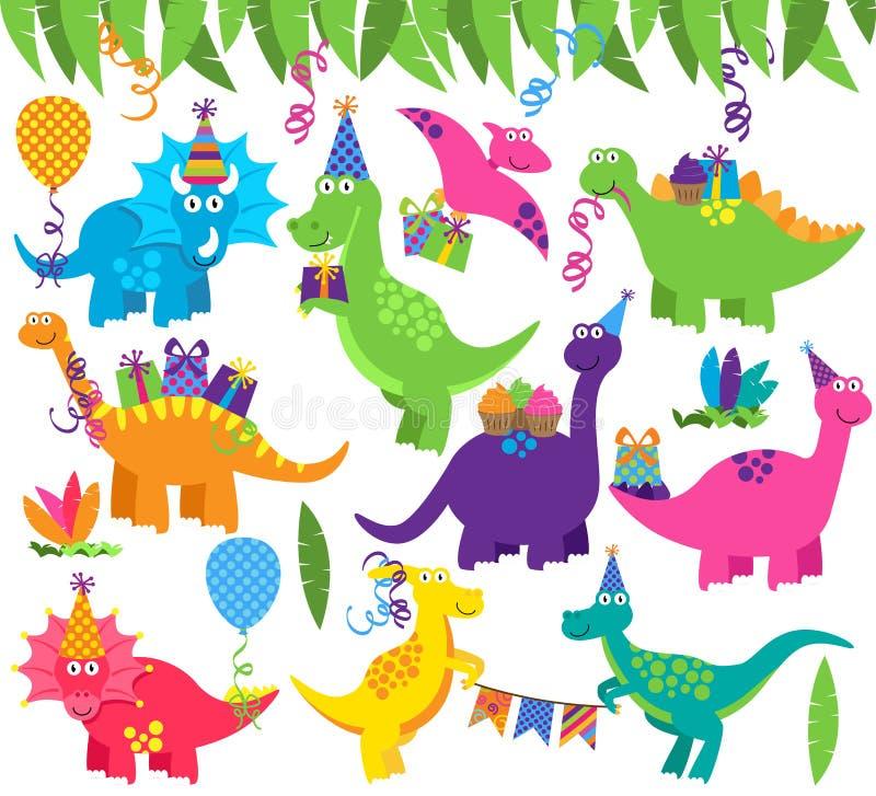 Samling av vektorfödelsedagparti eller partidinosaurier vektor illustrationer