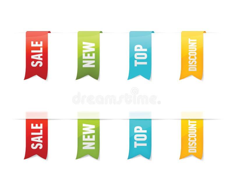 Samling av vektorförsäljningsetiketter, klistermärkear, etiketter på vit bakgrund stock illustrationer