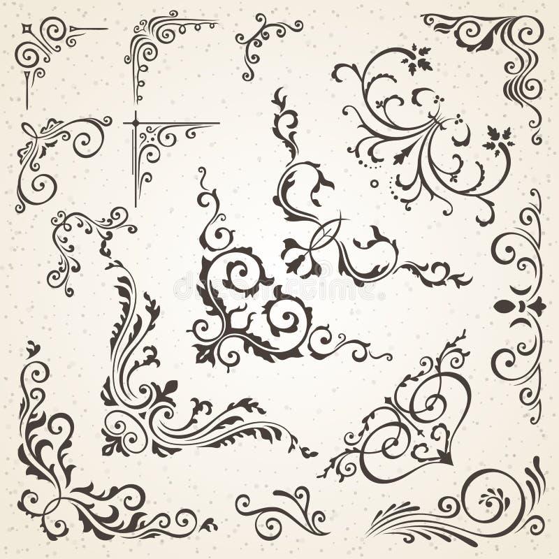 Samling av vektorhörn i beståndsdelar för design för tappningstil och för victorian dekorativa bok- eller inbjudan royaltyfri illustrationer