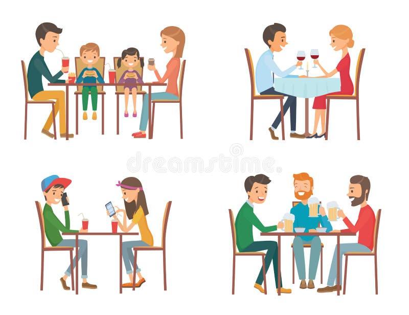 Samling av vektorillustrationen på temat av folk i kafé stock illustrationer
