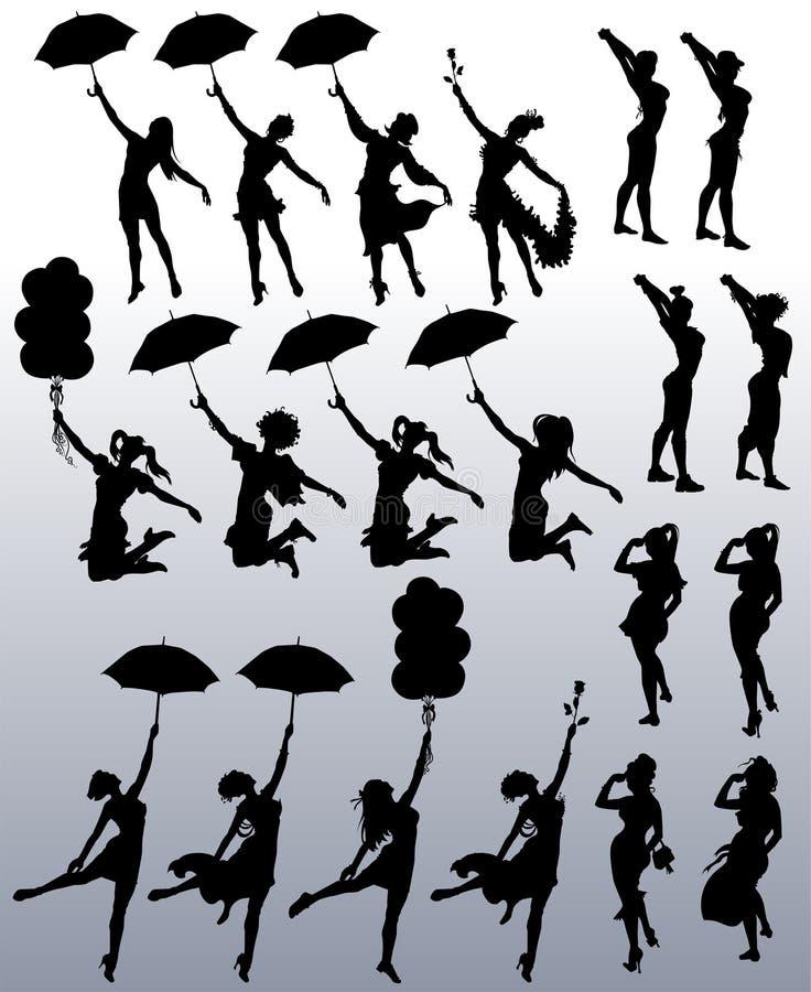 Samling av vektorkonturer av attraktiva kvinnor stock illustrationer