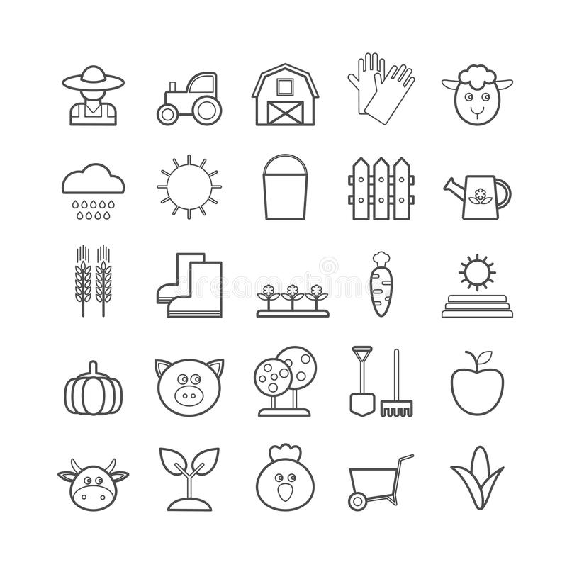 Samling av vektorlinjen jordbruk och lantbrukrengöringsduksymboler royaltyfri illustrationer