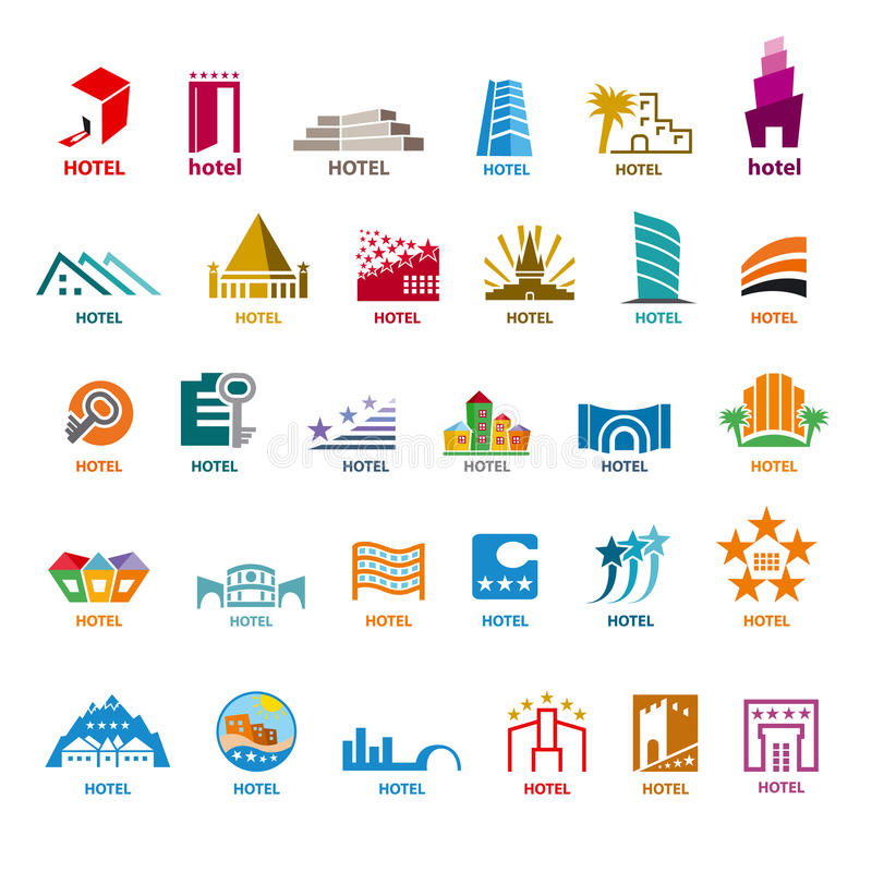 Samling av vektorlogobyggnader för fritidturism royaltyfri illustrationer