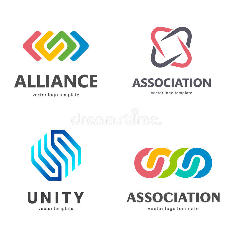 Samling av vektorlogoer för din affär Anslutning Alliance, enhet, Team Work vektor illustrationer