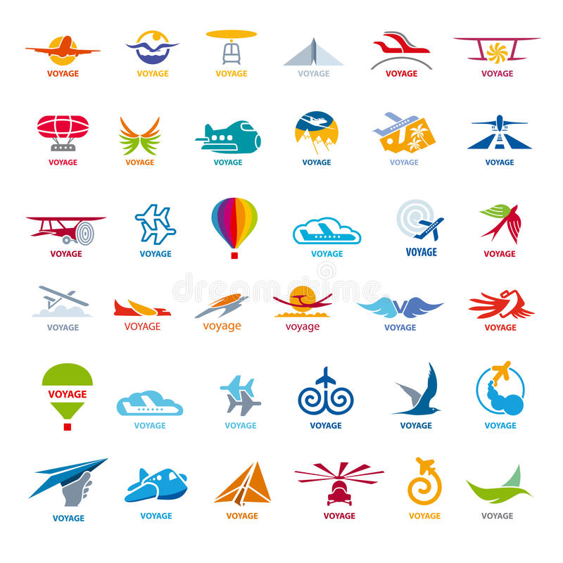 Samling av vektorlogoflyg royaltyfri illustrationer