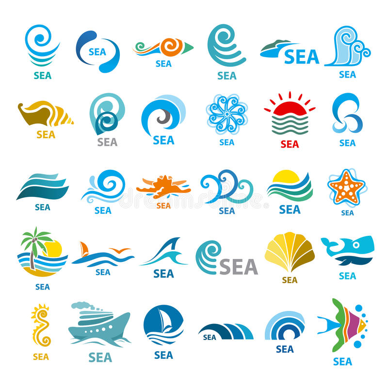 Samling av vektorlogohavet royaltyfri illustrationer