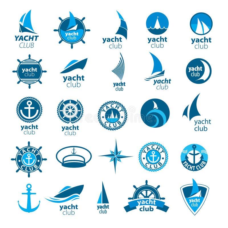 Samling av vektorlogomarina royaltyfri illustrationer